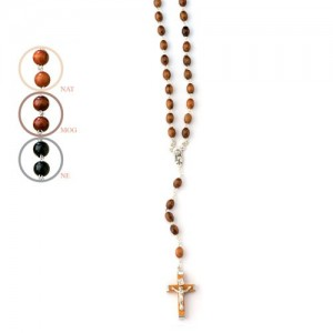 Rosary made of oval walnut wood with hand binding