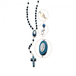 Rosary with blue rhombus wood grain with Miraculous with carabiner