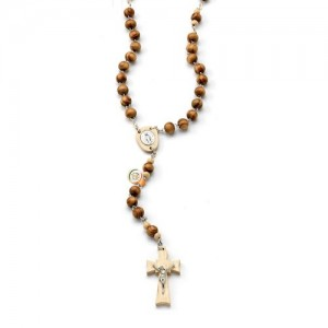 Rosary in wood chained with cross and wooden cross and metal plate