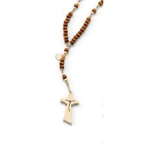 Rosary in wood bound in rope with carabiner