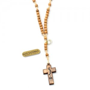 Franciscan rosary in round olive wood with carabiner