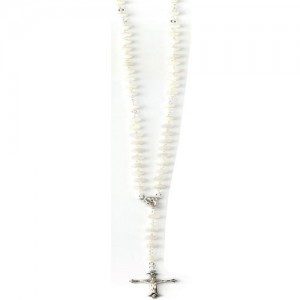 Round mother-of-pearl rosary with box
