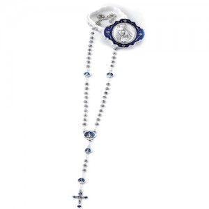 Medjugorje rosary with rose-shaped grain in oxidized metal with enamelled pater with metal box