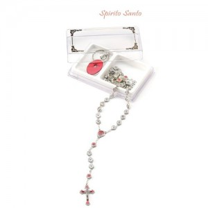 Oxidized metal rosary - Holy Spirit with keyring
