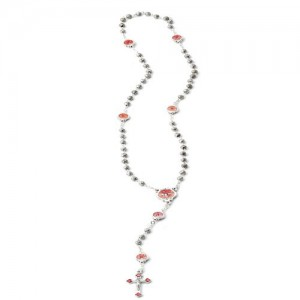 Rosary in oxidized metal -pater Holy Spirit in enamelled metal