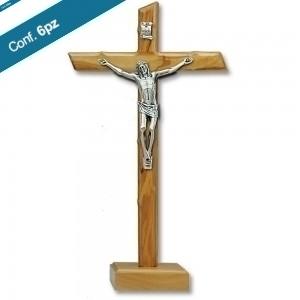 Croce in legno d'olivo lavorata con base