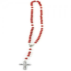 Rosary in rose petal in smooth round wood with hand binding