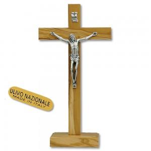 Croce in legno d'olivo con base