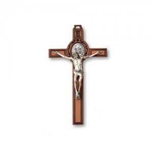 San Benedetto cross in stained wood