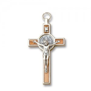 Cross of San Benedetto in olive wood and metal