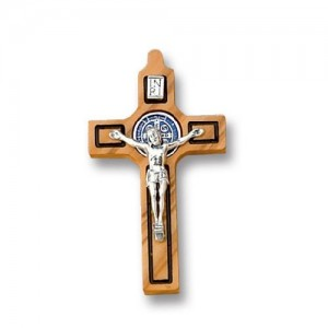 Saint Benedict cross in olive wood with enamel medal