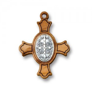 Cross in olive wood with oval medal of St. Benedict