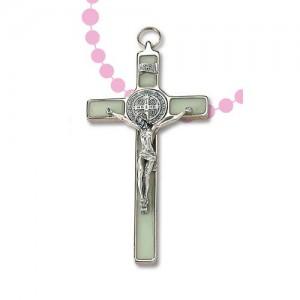Croce San Benedetto in metallo nichelato con fosforo
