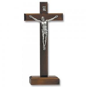 Croce in legno di noce con base e corpo di Cristo in metallo