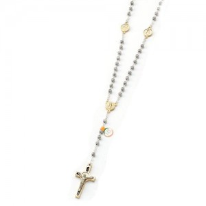 Rosary in the shape of a two-colored rose with a cross of St. Benedict