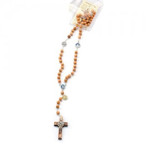 Rosary in olive with pater in enamelled metal with San Benedetto