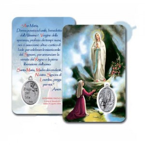 Card with Madonna of Lourdes