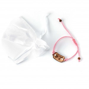 Pink sliding bracelet with olive wood and strass plate