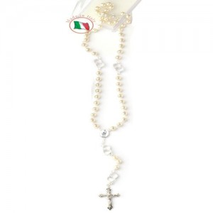 Rosary chained in white glass with pater with wedding rings