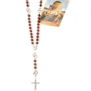 Rosary chained in wood with pater wedding rings