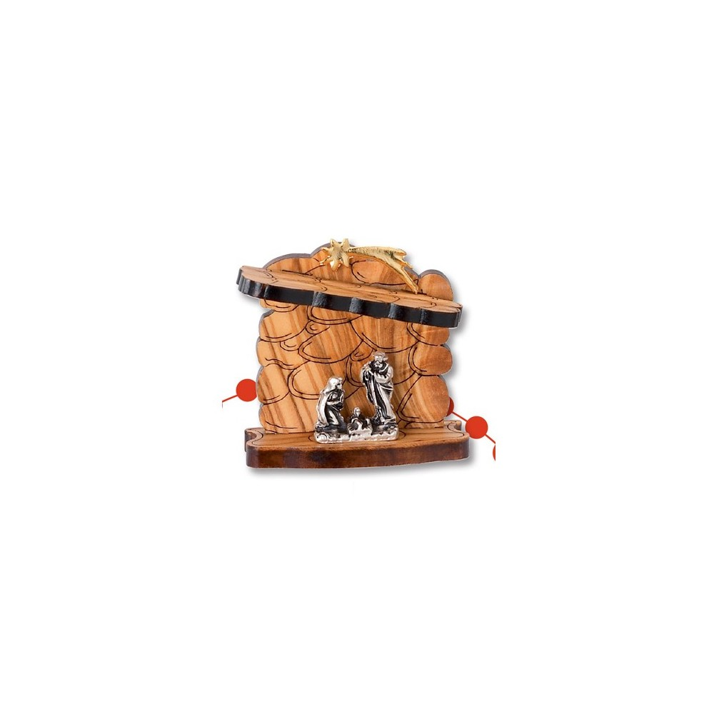 Nativity in olive wood and metal in the shape of a rock with a box