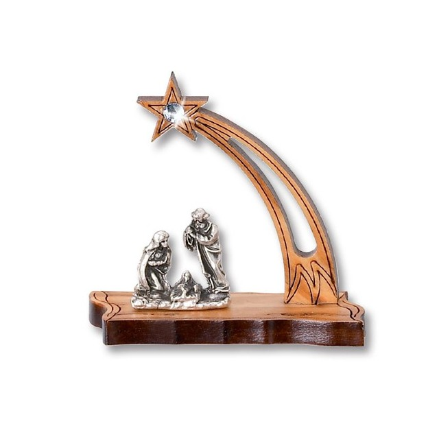 Nativity in the shape of a comet in olive wood with rhinestones