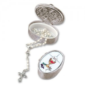 Metal box with rosary Communion