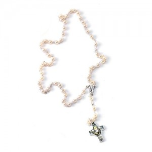 Plastic pearl rosary with metal cross Communion