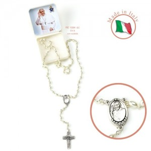 Rosary in imitation pearl with oval grains Pope Francis