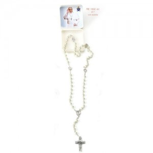 Imitation pearl rosary with round grain Papa Francesco and pater with 4 basilicas