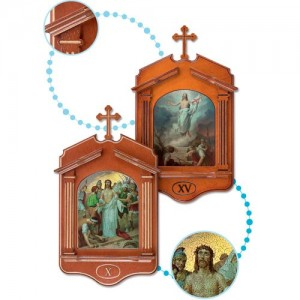 Serie Via Crucis 15 stazioni in Noce