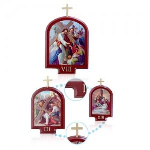 Via Crucis in legno tinto mogano e metallo