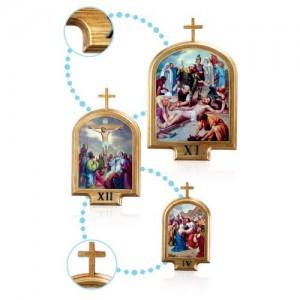 Via Crucis in legno con foglia oro e metallo