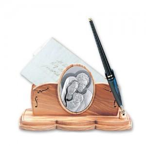 Portalettere con penna in ulivo e argento