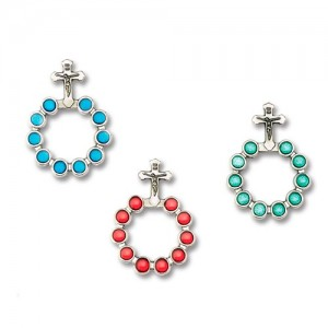 Basque ring rosary in oxidized metal with enamel