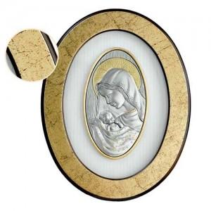 Capoletto ovale colore oro invecchiato e lastra d'argento