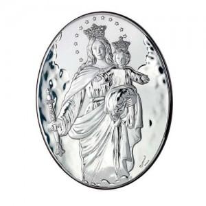 Quadro legno e argento Madonna Ausiliatrice