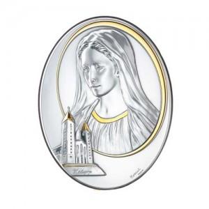 Quadro legno e argento Madonna Medjugorje