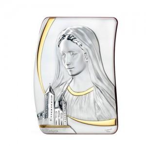 Quadro sagomato in argento Madonna Medjugorje