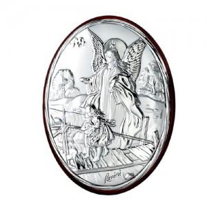 Quadro ovale in argento Angelo custode