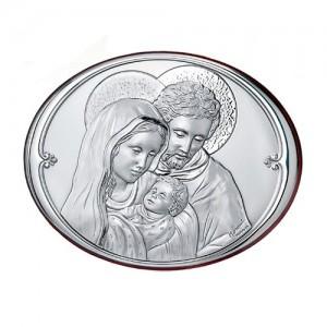 Quadro ovale in legno e argento Sacra Famiglia