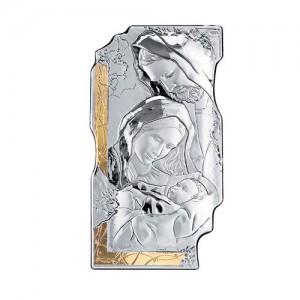 Pannello con affresco in argento e oro Sacra Famiglia