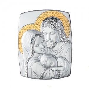 Quadro legno e argento Sacra Famiglia