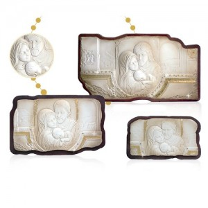 Panel in wood and alabaster powder Holy Family