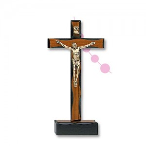 Cross in walnut wood worked with base