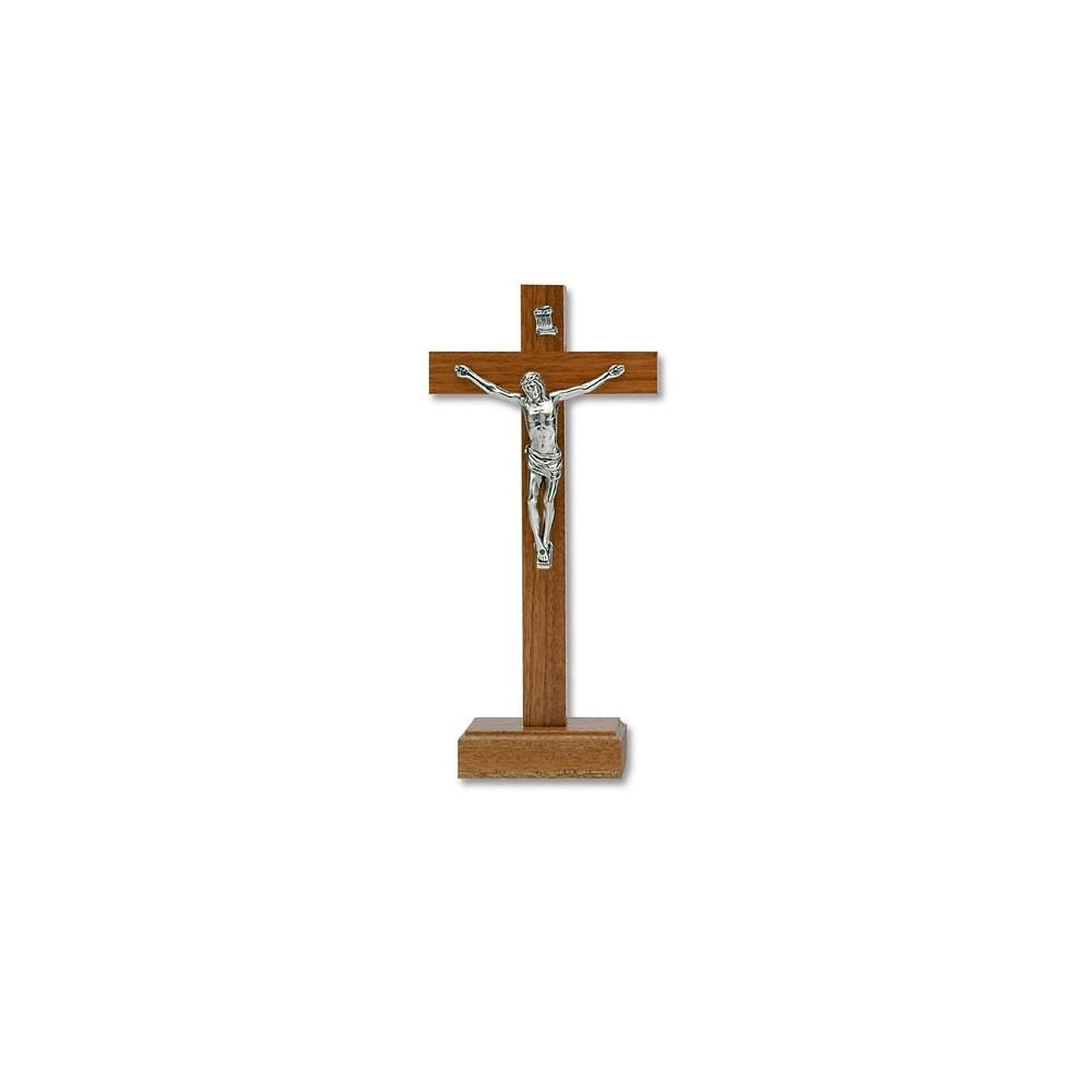 Croce in legno di noce chiaro con base