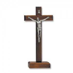 Cross in dark walnut wood with base