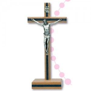 Cross with base in walnut wood with inlays