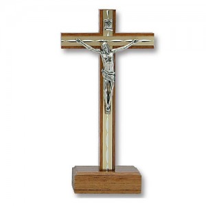 Walnut cross with aluminum with base