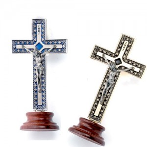 Metal cross with decorations and enamel with base
